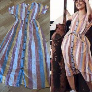 Old khaki linen midi dress sz 6